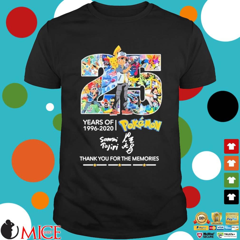 25 years of 1996-2020 Pokemon thank you for the memories signature shirt