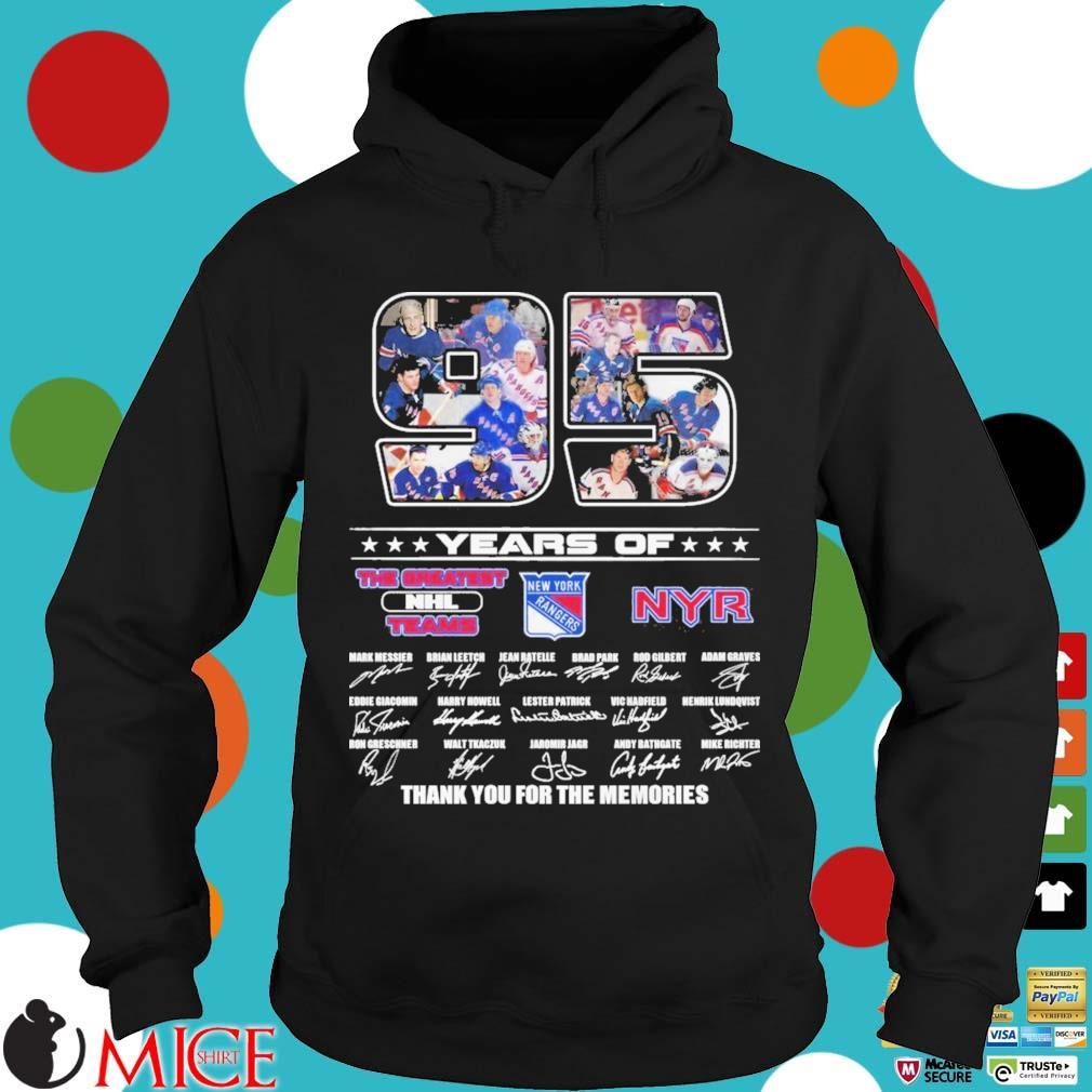 95 years of New York Rangers the greatest NHL Teams thank you for the memories signatures Hoodie