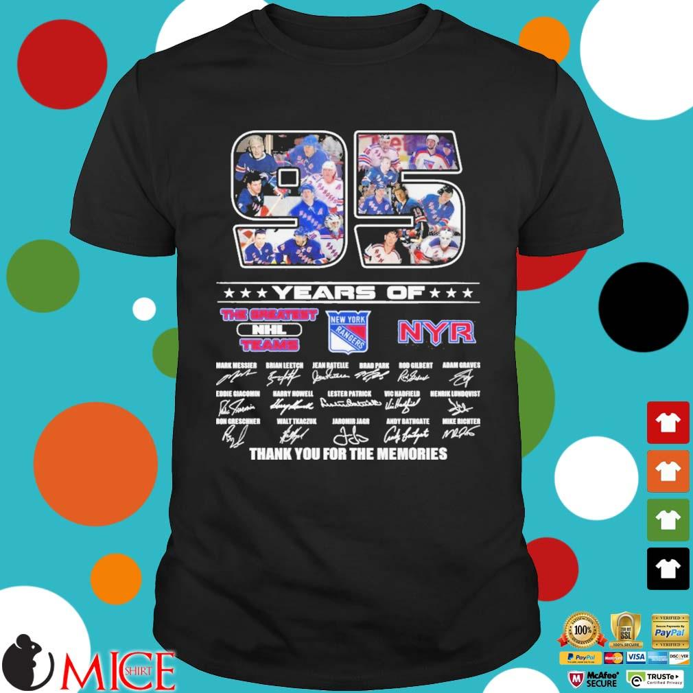 95 years of New York Rangers the greatest NHL Teams thank you for the memories signatures shirt