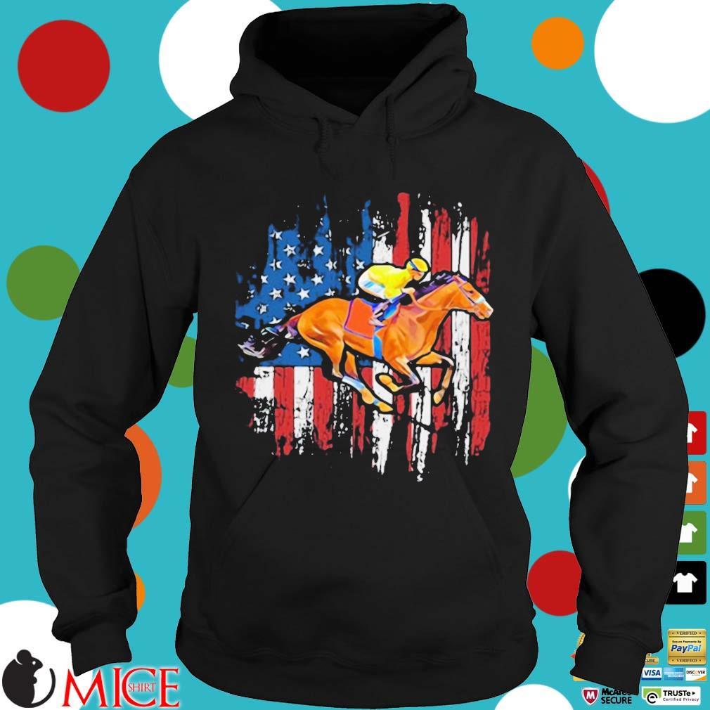 American Flag Horse Racing Shirt Hoodie
