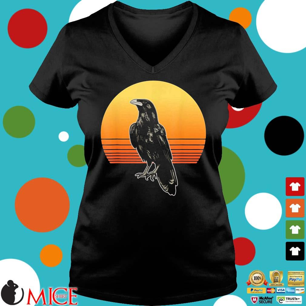 Crow Bird Sun For Crow And Raven Lovers Sunset Shirt Ladies V-Neck