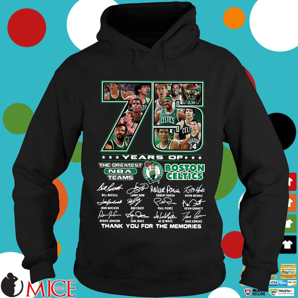 Funny 75 years of Boston Celtics the greatest NBA teams thank you for the memories signatures s Hoodie