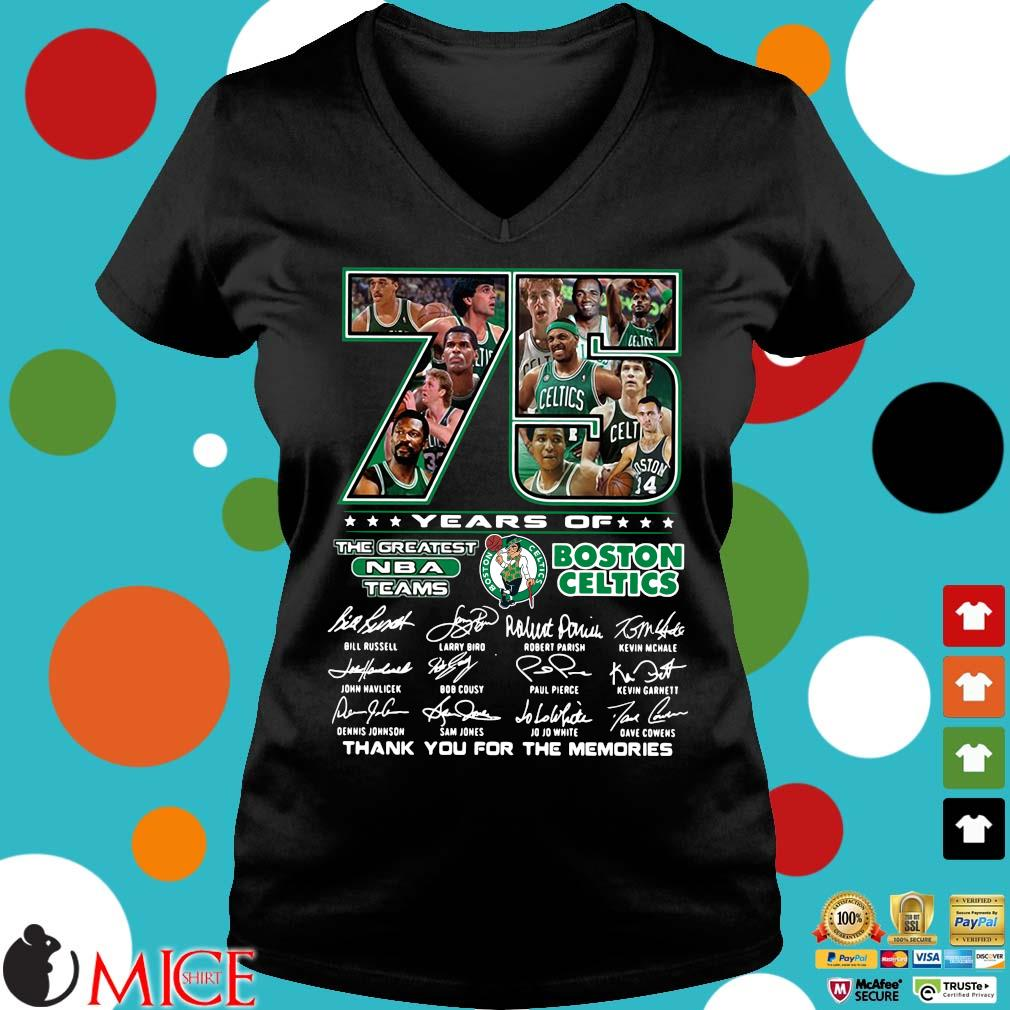 Funny 75 years of Boston Celtics the greatest NBA teams thank you for the memories signatures s Ladies V-Neck