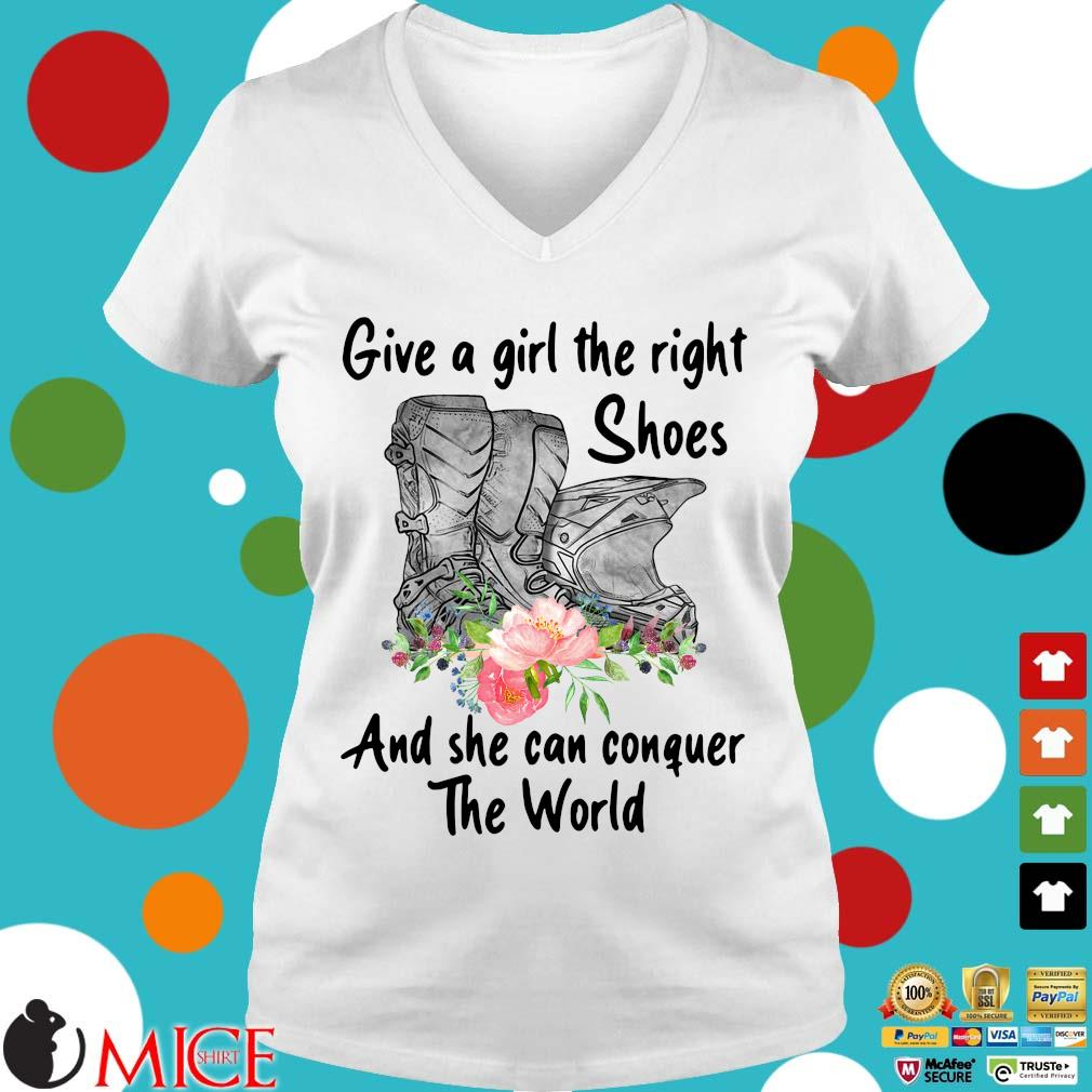 Give a girl the right shoes and she can conquer the world floral s Ladies V-Neck trangs