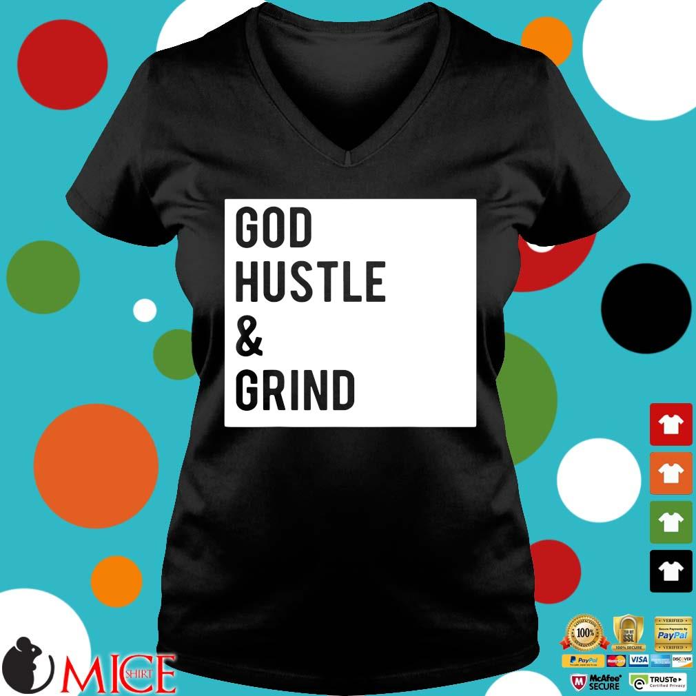 God hustle and grind s Ladies V-Neck