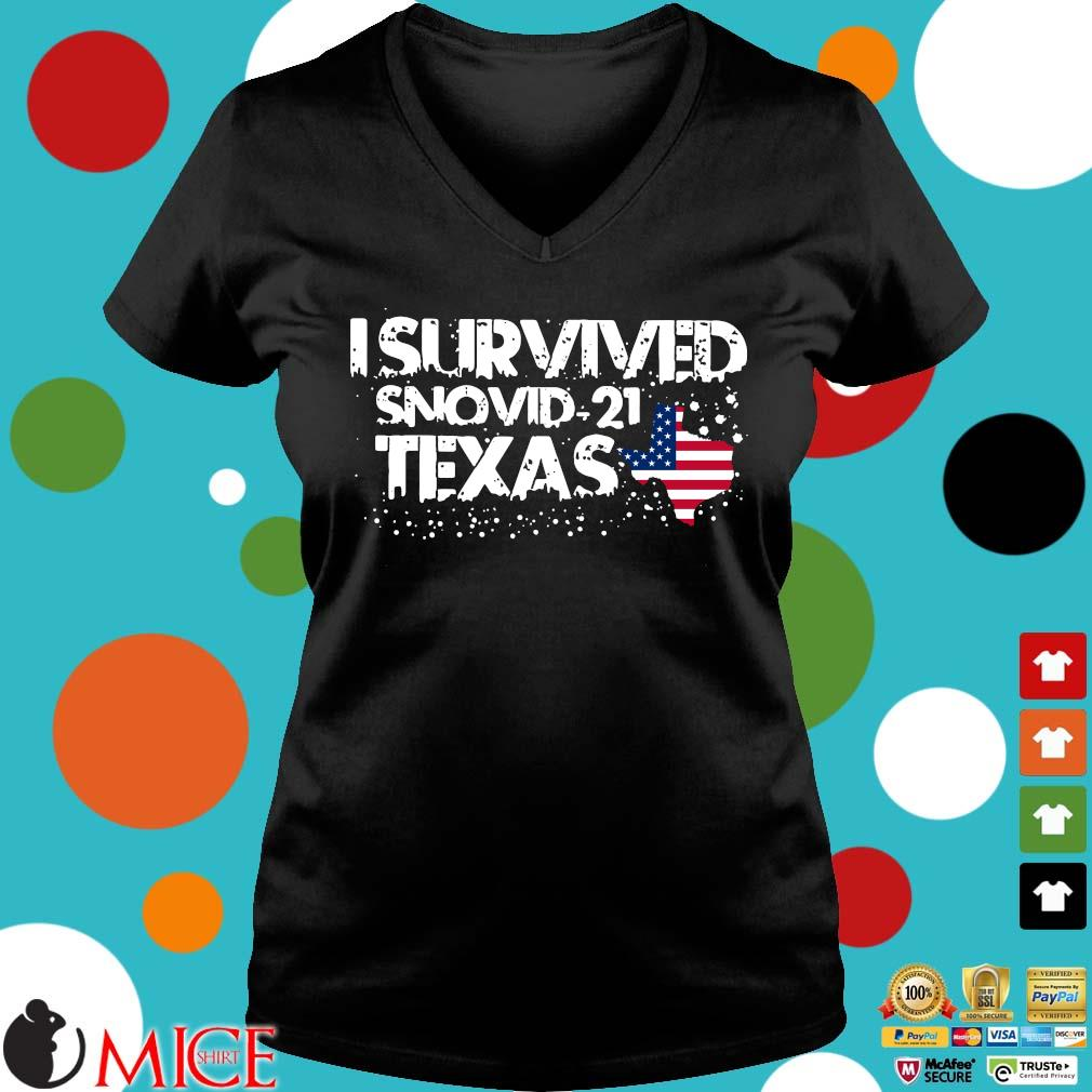 Hot I survived snovid-21 Texas American flag s Ladies V-Neck