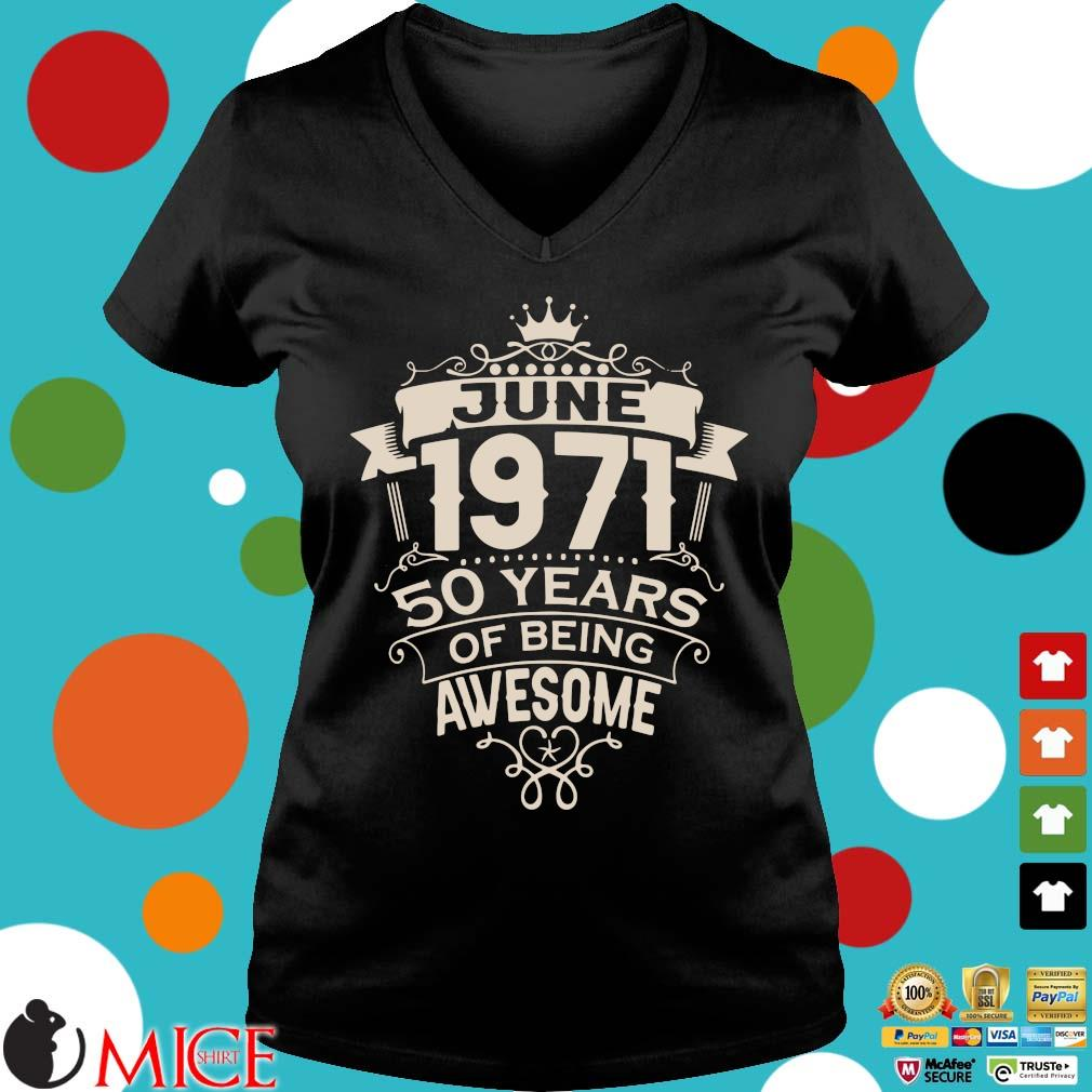 June 1971 50 years of being awesome s Ladies V-Neck
