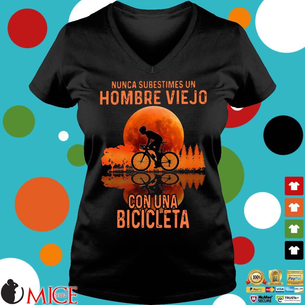 Nunca subestimes un hombre viejo con una bicicleta sunset Ladies V-Neck