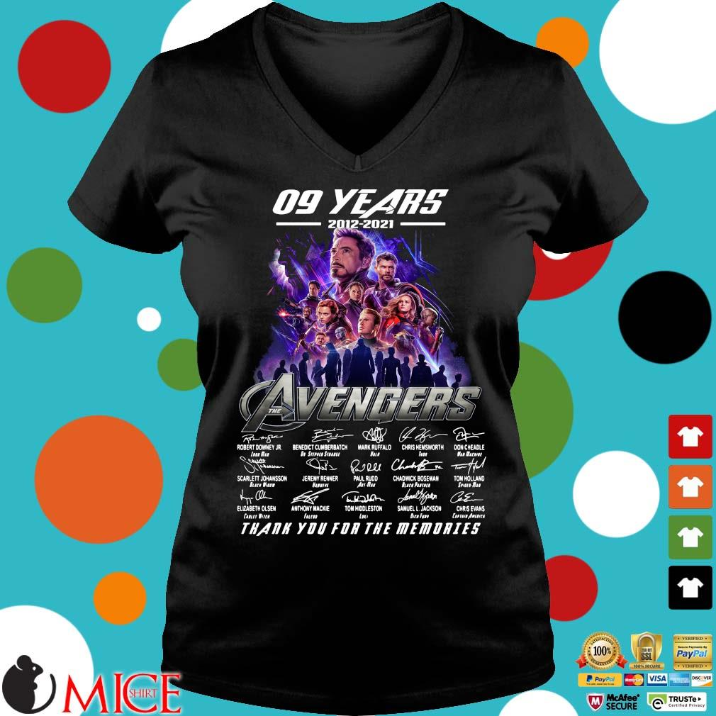 09 years 2012 2021 the Avengers signatures thank you for the memories Ladies V-Neck
