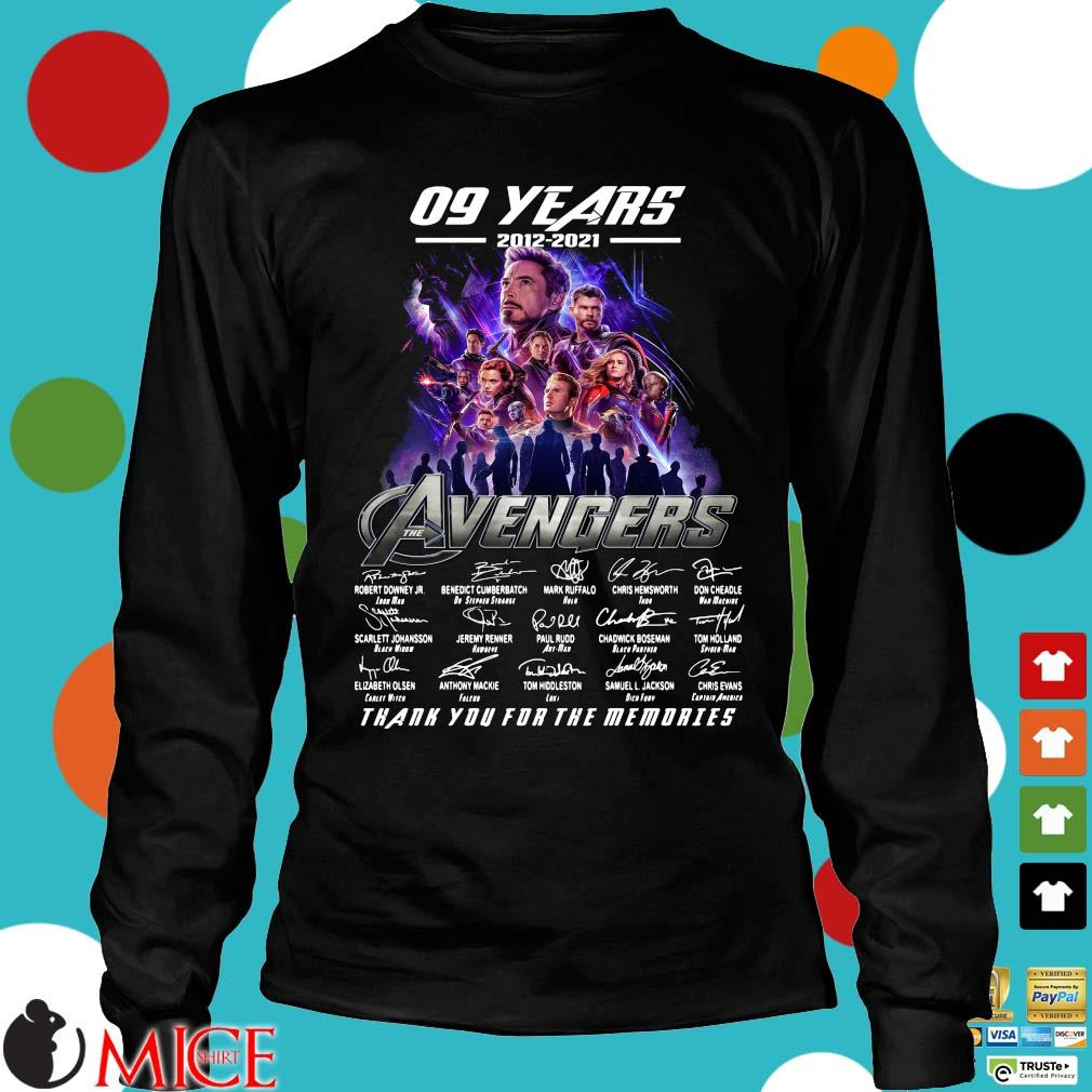 09 years 2012 2021 the Avengers signatures thank you for the memories Longsleeve