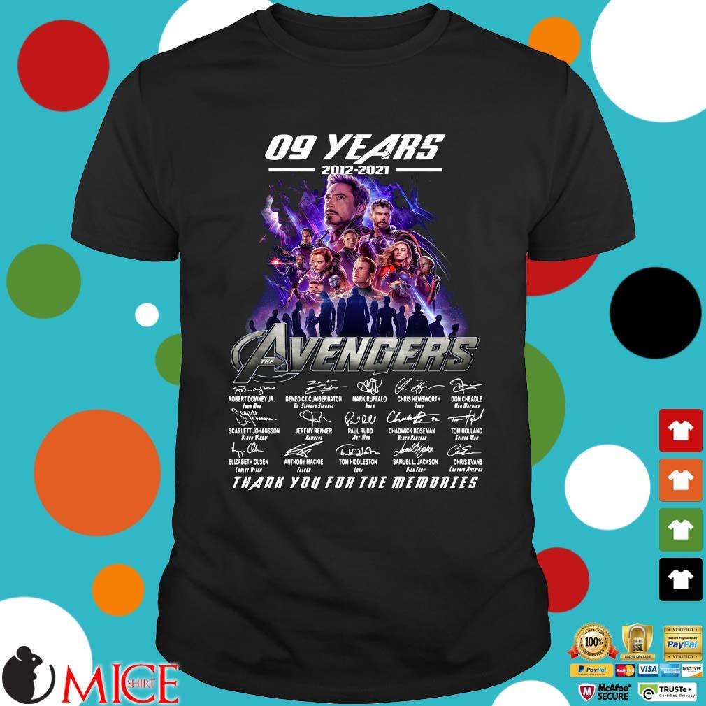 09 years 2012 2021 the Avengers signatures thank you for the memories shirt