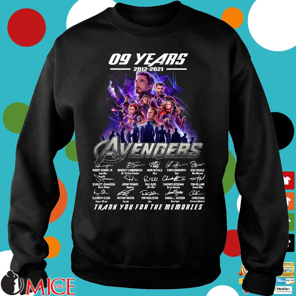 09 years 2012 2021 the Avengers signatures thank you for the memories Sweater