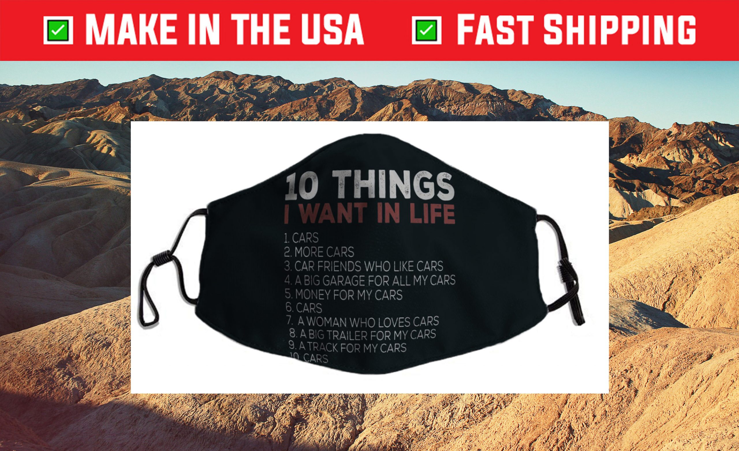 10 Things I Want In My Life Cars More Cars car Cloth Face Mask