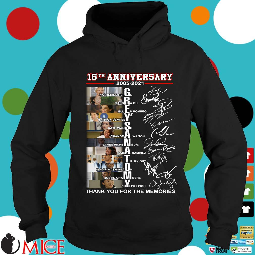 16th anniversary 2005-2021 Grey's Anatomy signatures thank you for the memories Hoodie
