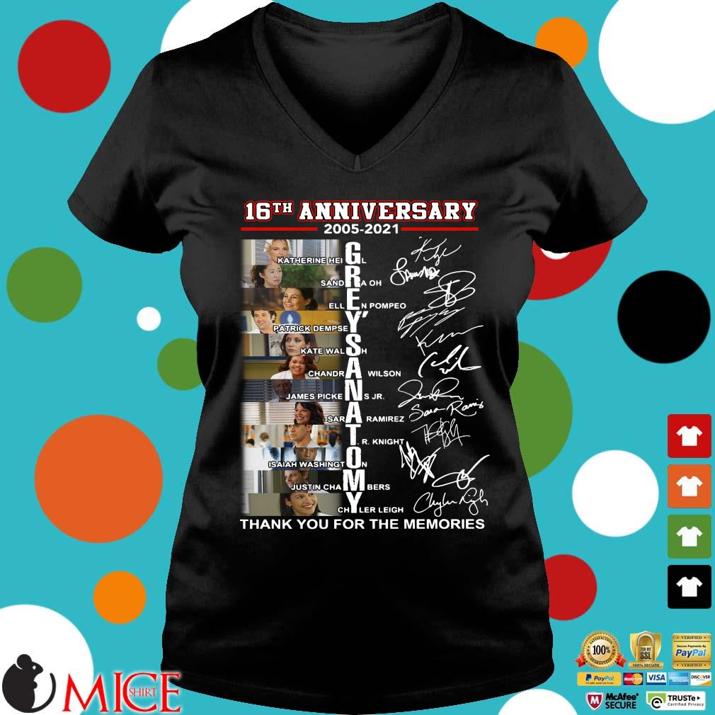 16th anniversary 2005-2021 Grey's Anatomy signatures thank you for the memories Ladies V-Neck