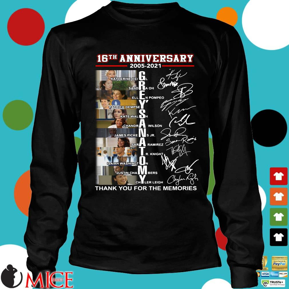 16th anniversary 2005-2021 Grey's Anatomy signatures thank you for the memories Longsleeve