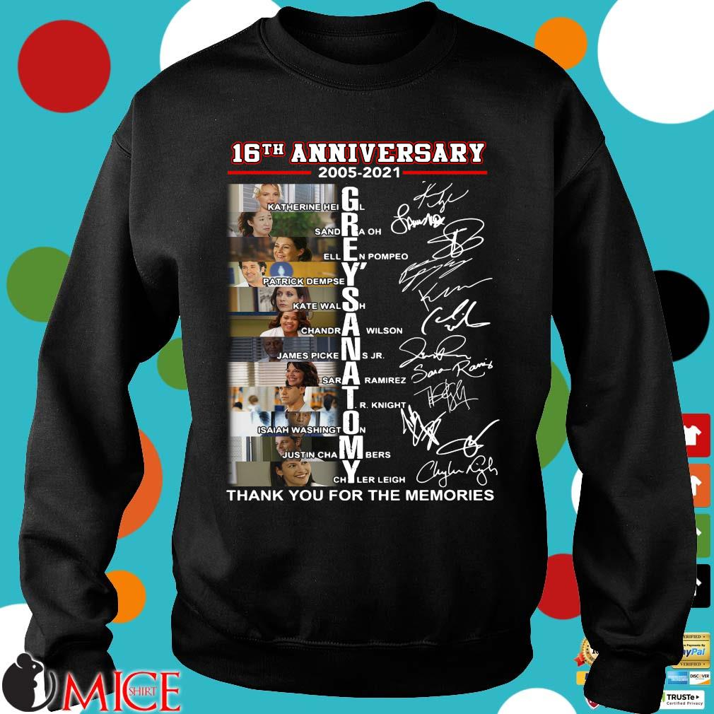 16th anniversary 2005-2021 Grey's Anatomy signatures thank you for the memories Sweater