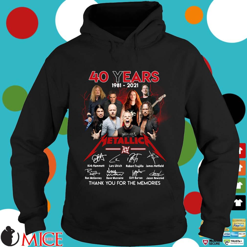 40 years 1981-2021 Metallica signatures thank you for the memories Hoodie