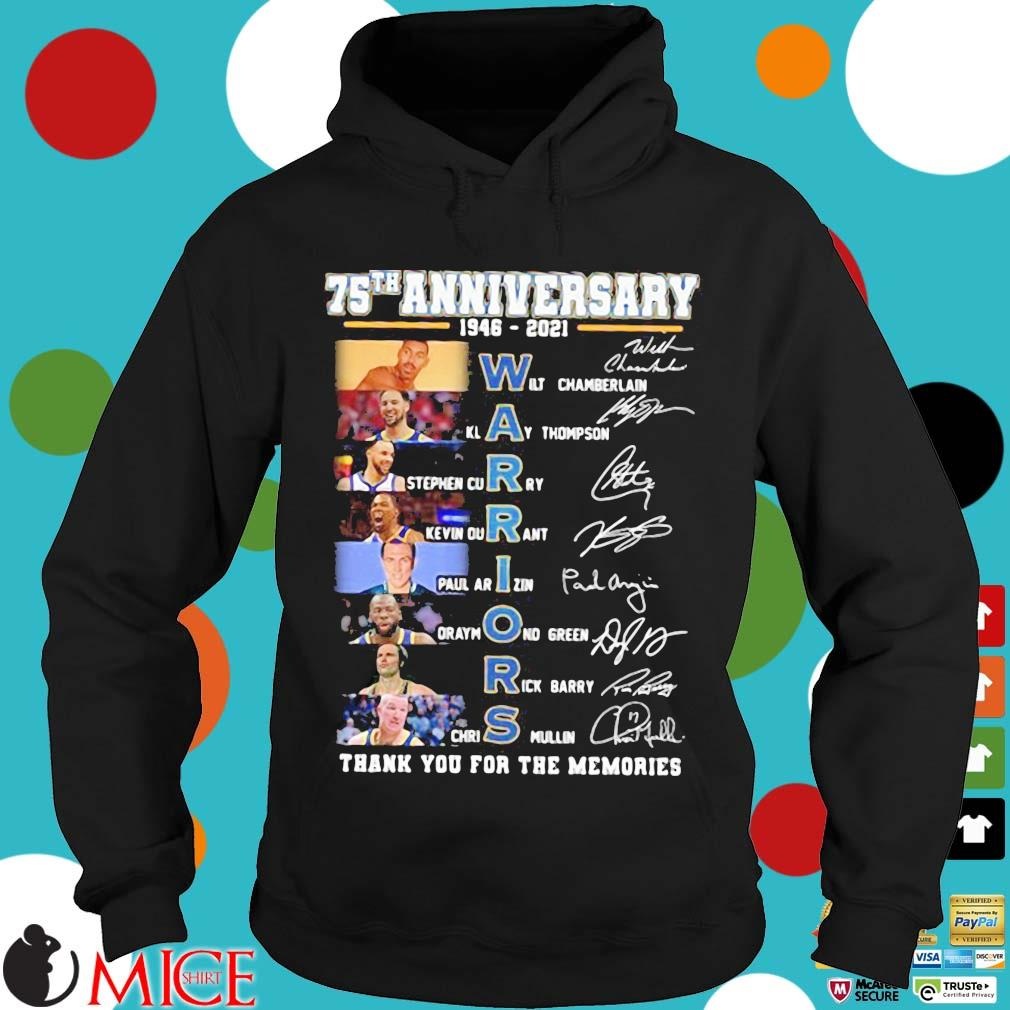 75th anniversary 1946 2021 Warriors signatures thank you for the memories Hoodie