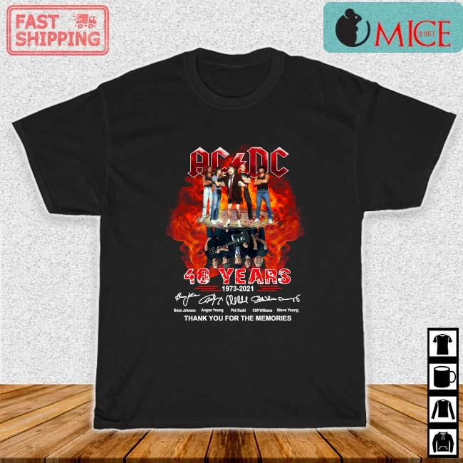 ACDC Water Reflection 48 years 1973-2021 thank you for the memories signatures shirt