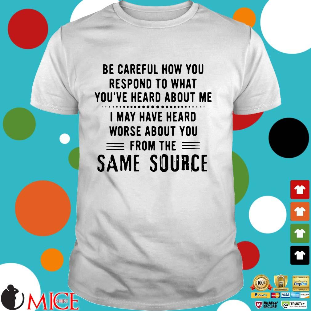 Be careful how to respond to what you've heard about Me I may have heard worse about you from the same source shirt