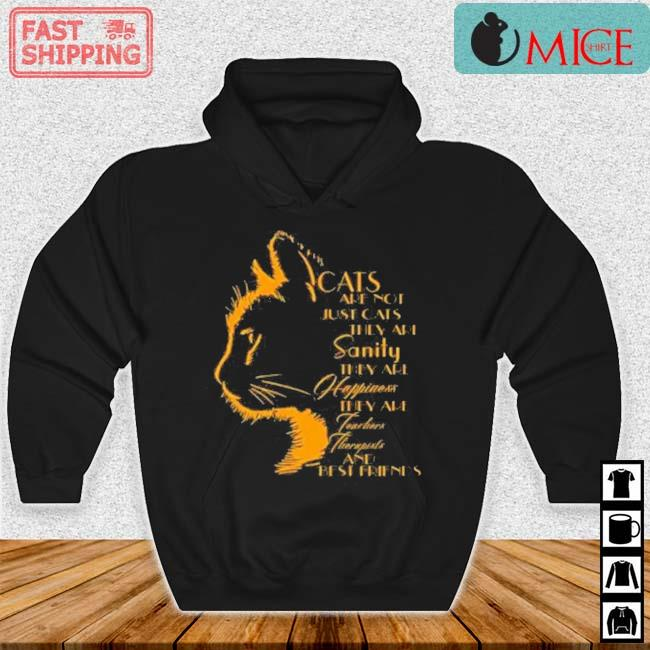 Cats Are Not Just Cats They Are Sanity They Are Happiness They Are Teachers Therapists And Best Friends Shirt Hoodie den