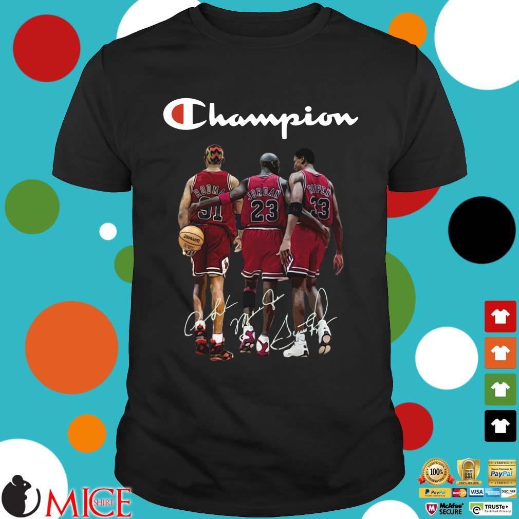 Dennis Rodman Michael Jordan Scottie Pippen champion signatures shirt