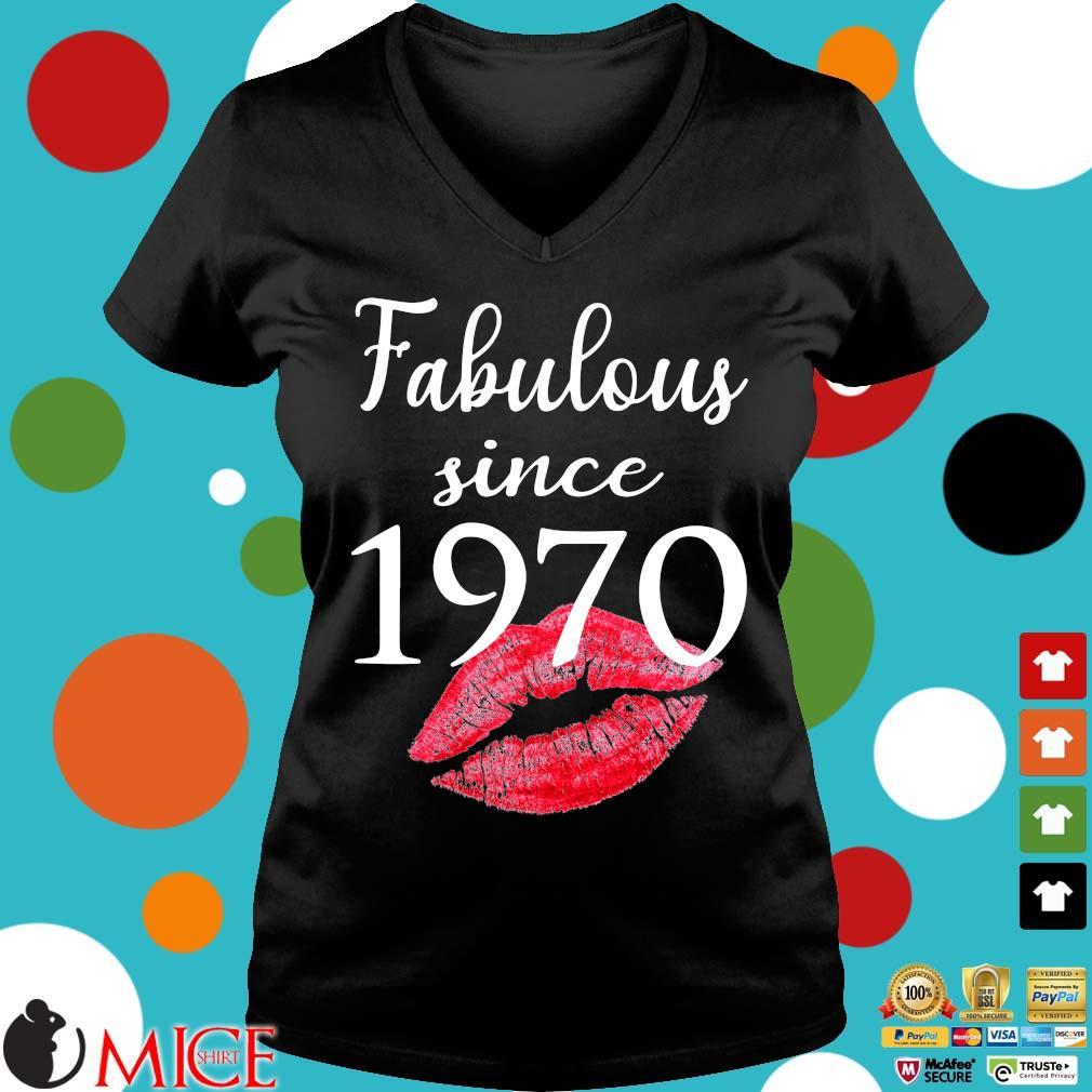 Fabulous since 1970 lips Ladies V-Neck