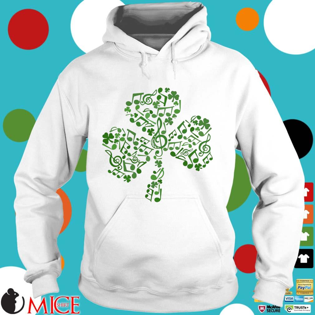 Four Leaf Clover Music Notes Irish St. Patrick Day Hoodie trang