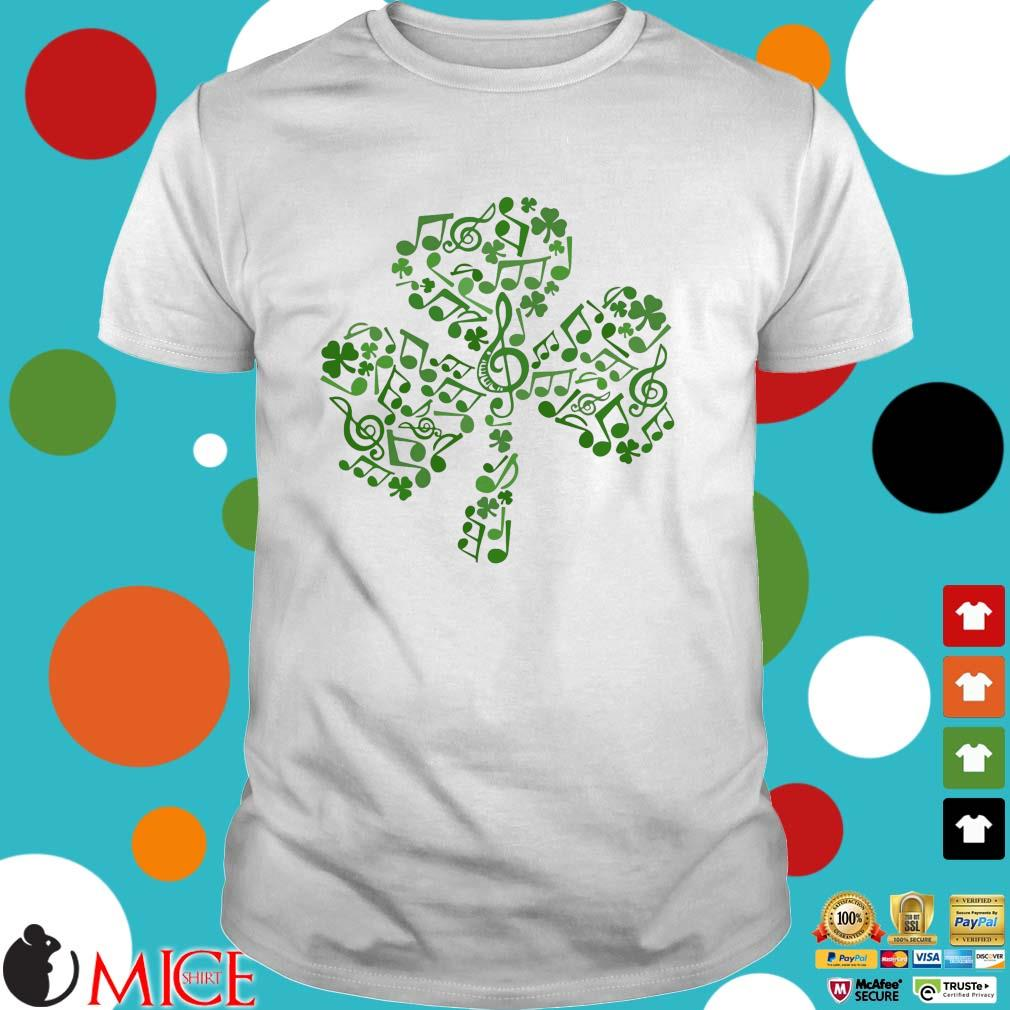 Four Leaf Clover Music Notes Irish St. Patrick Day shirt