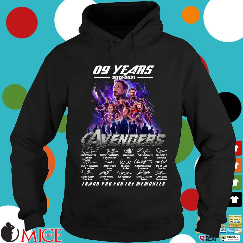 Funny 09 years 2012 2021 the Avengers signatures thank you for the memories Hoodie
