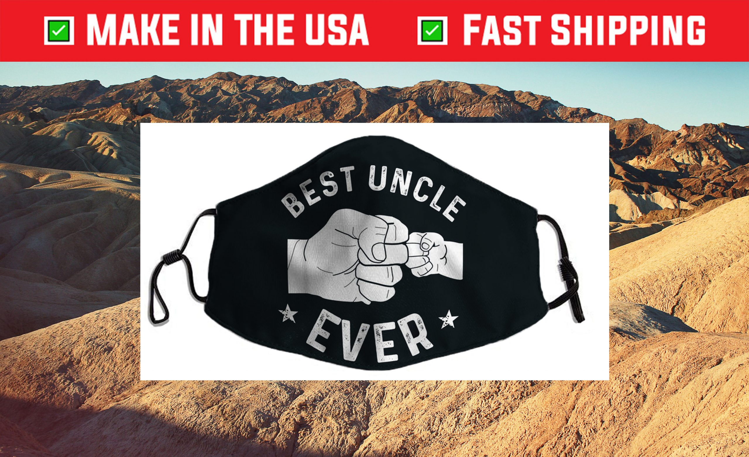 Funny Best Uncle Ever Fist-bump Us 2021 Face Mask