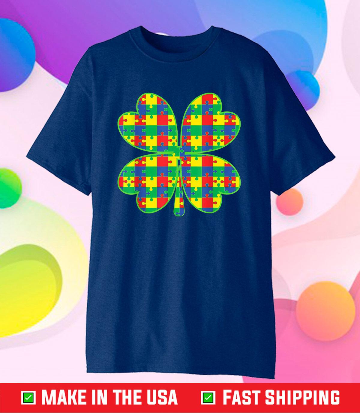 Lucky Autism Awareness Four Leaf Clover ASD Support Classic T-Shirt