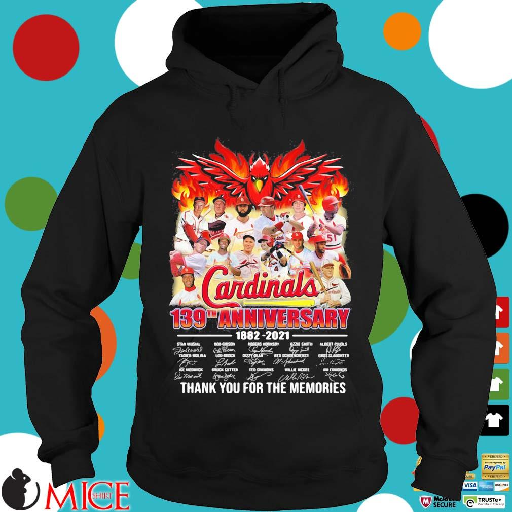 St. Louis Cardinals 139th anniversary 1882-2021 thank you for the memories signatures Hoodie