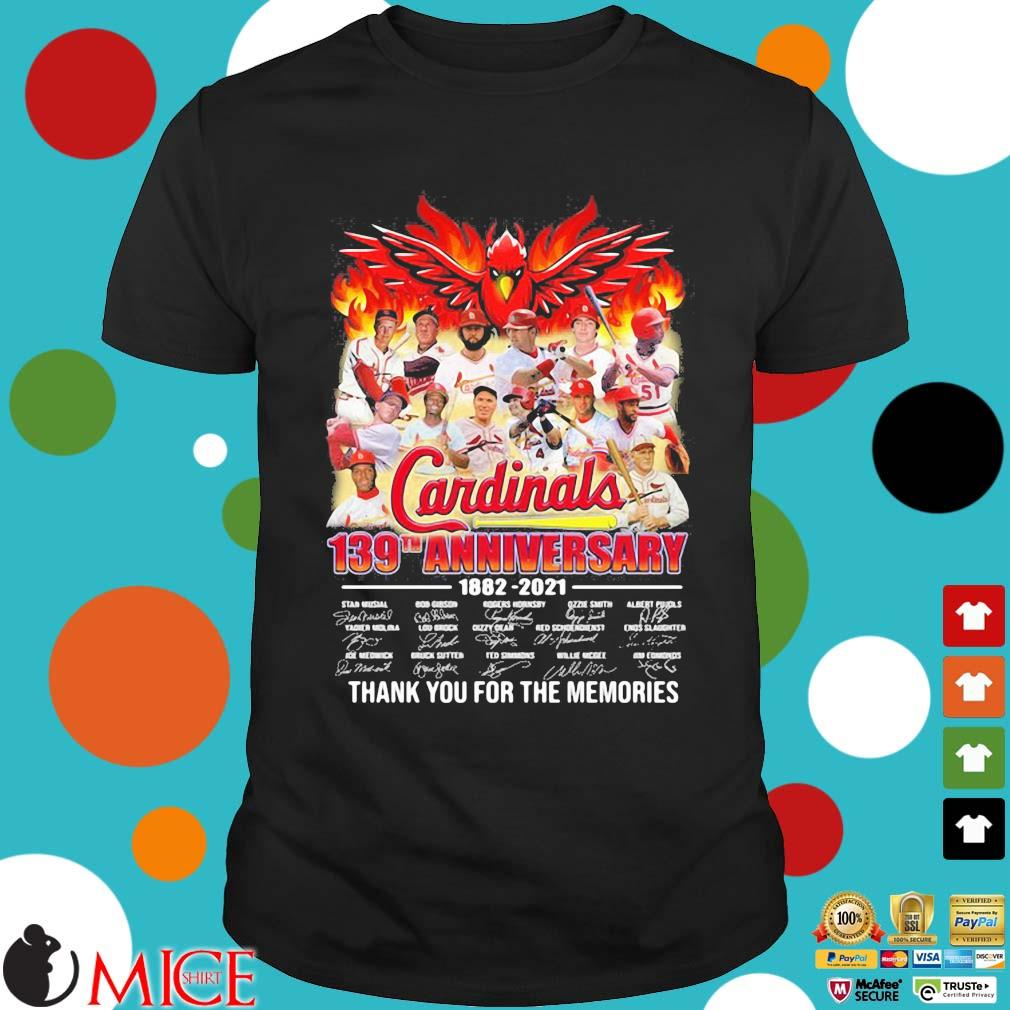 St. Louis Cardinals 139th anniversary 1882-2021 thank you for the memories signatures shirt
