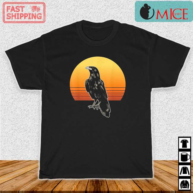 Crow Bird Sun For Crow And Raven Lovers Sunset Vintage Shirt