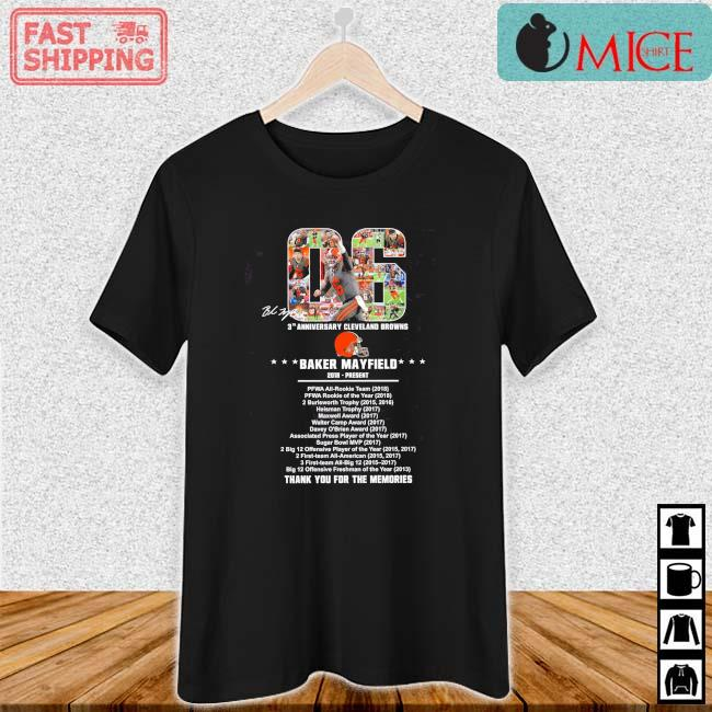 06 Baker Mayfield 2018 Present 3th Cleveland Browns Thank You Singature Shirt Ladies den