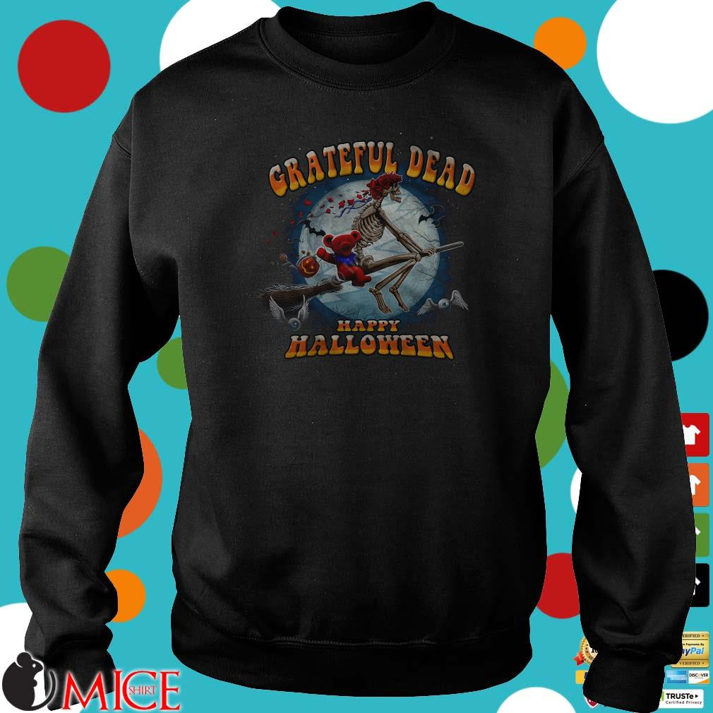Happy Halloween Skeleton And Bear Riding Broomstick Grateful Dead Shirt