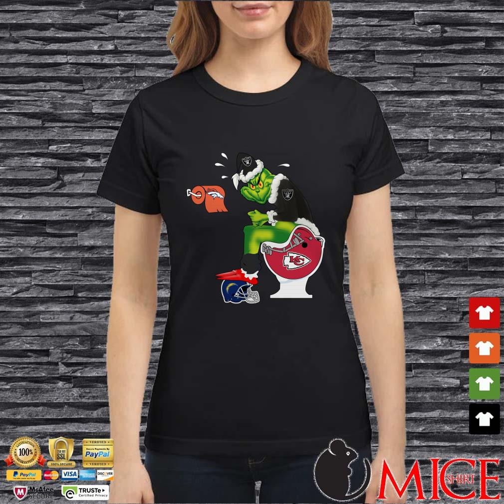Grinch Oakland Raiders, Denver Broncos, Kansas City Chiefs Tolet Shirt