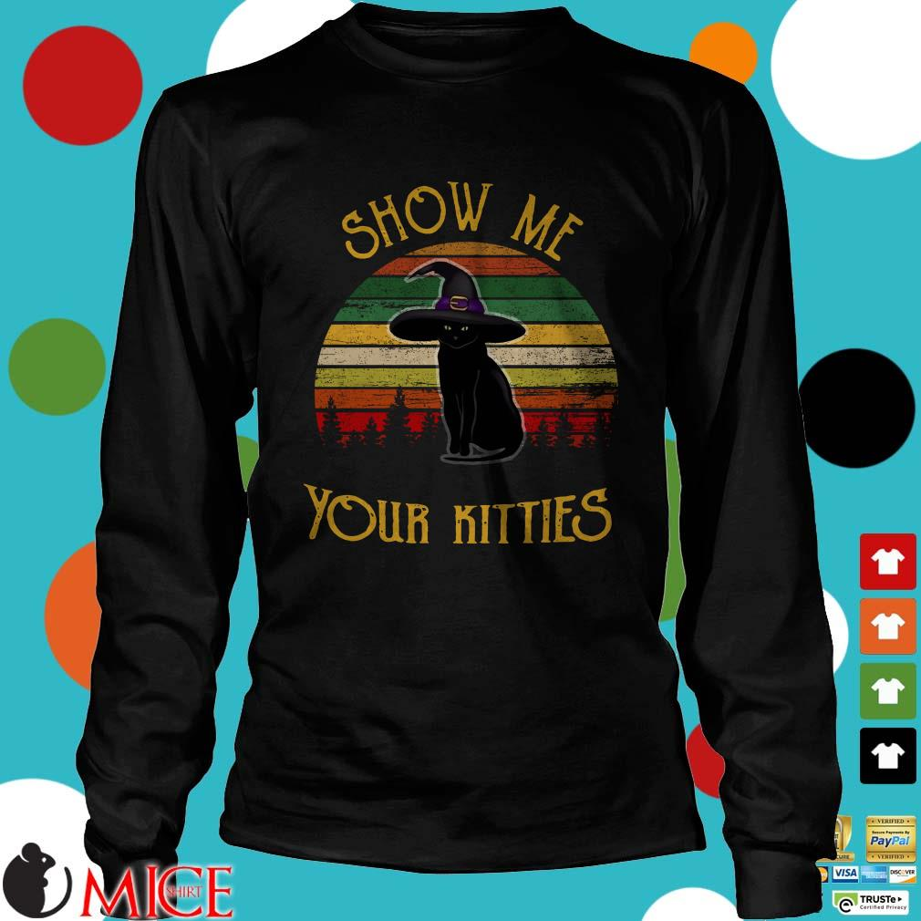 Black Cat Show Me Your Kitties Vintage Shirt