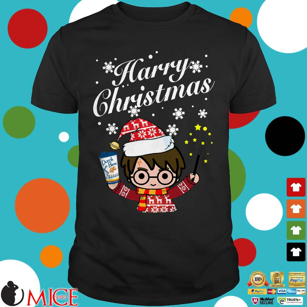 Harry Potter Christmas Shirt.Harry Potter Holding Dutch Bros Coffee Harry Christmas Shirt
