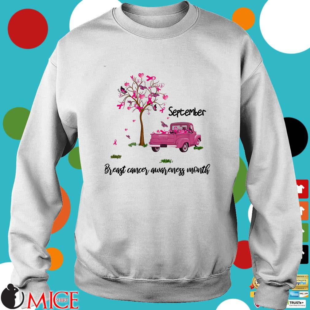 September Breast Cancer Awareness Month Tree And Car Halloween Shirt