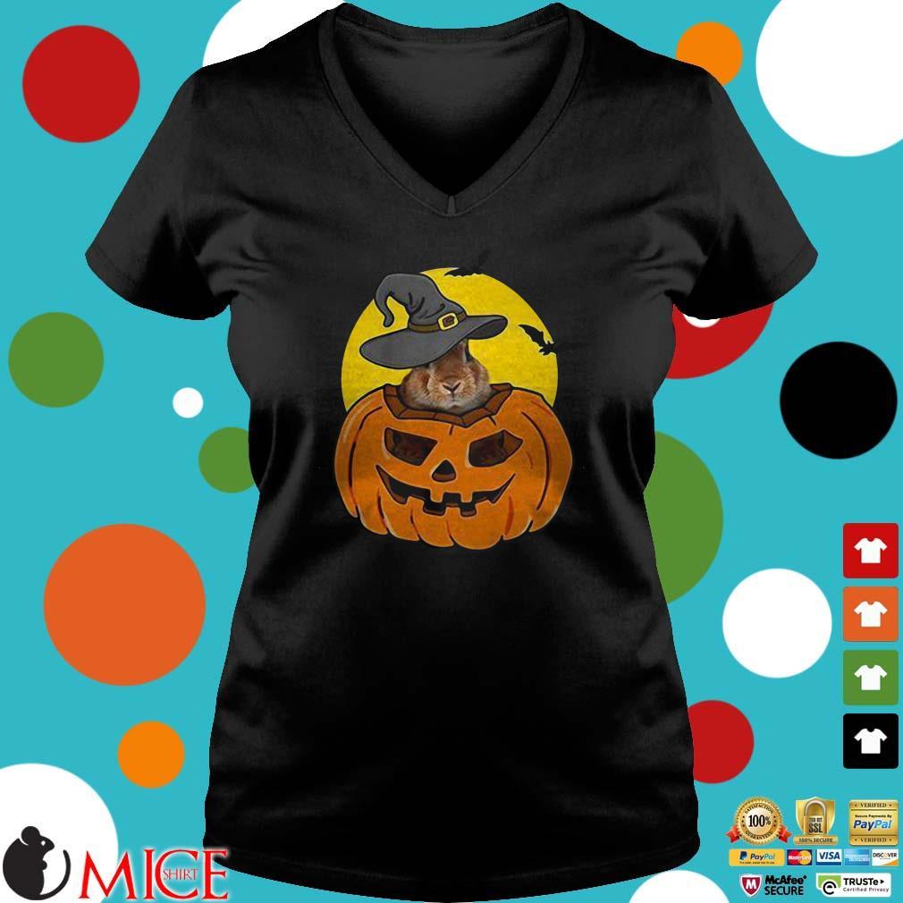 Rabbit In Pumpkin Wearing Witch Hat Halloween Shirt