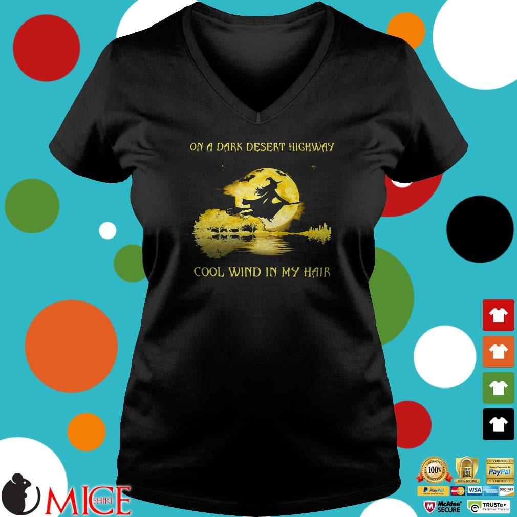 Witch and guitar on a dark desert highway cool wind in my hair Halloween shirt