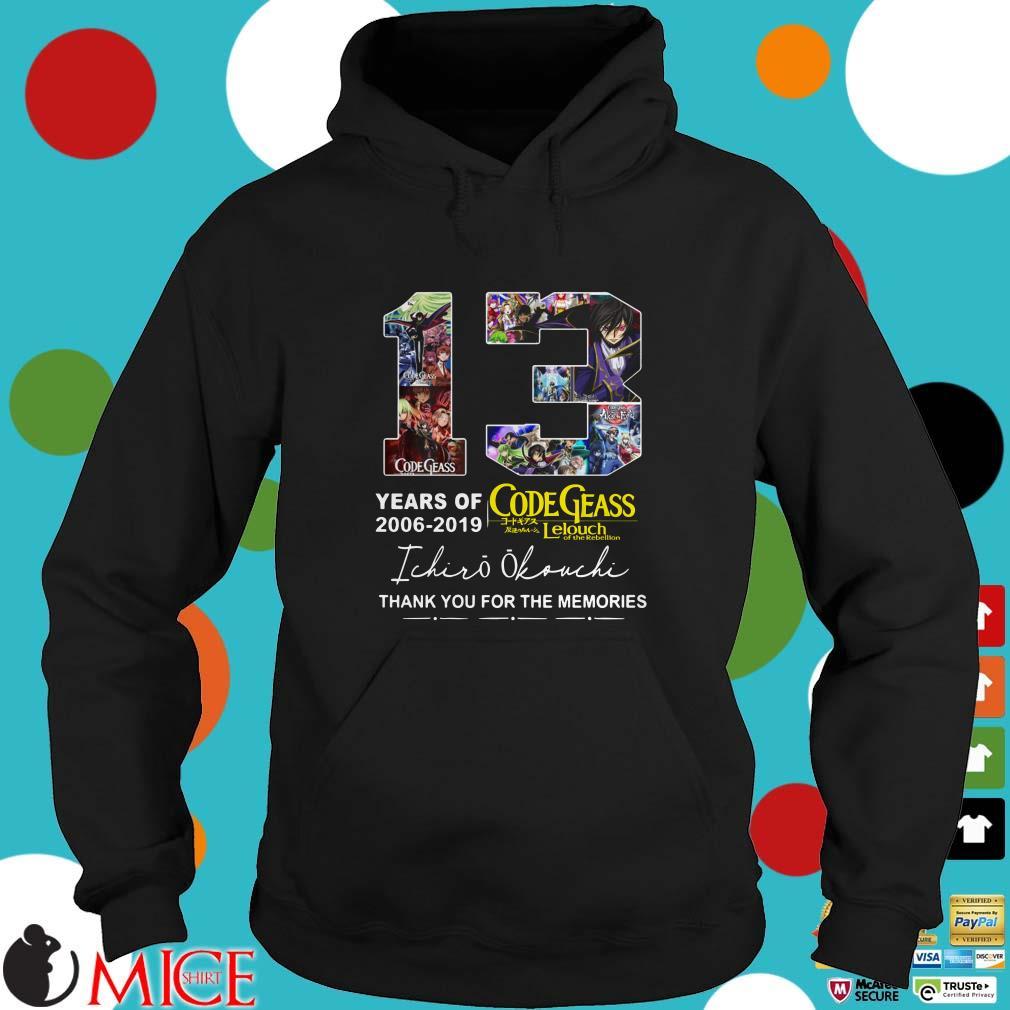 13 years of Code Geass 2006 2019 Ichiro Okouchi thank you Shirt