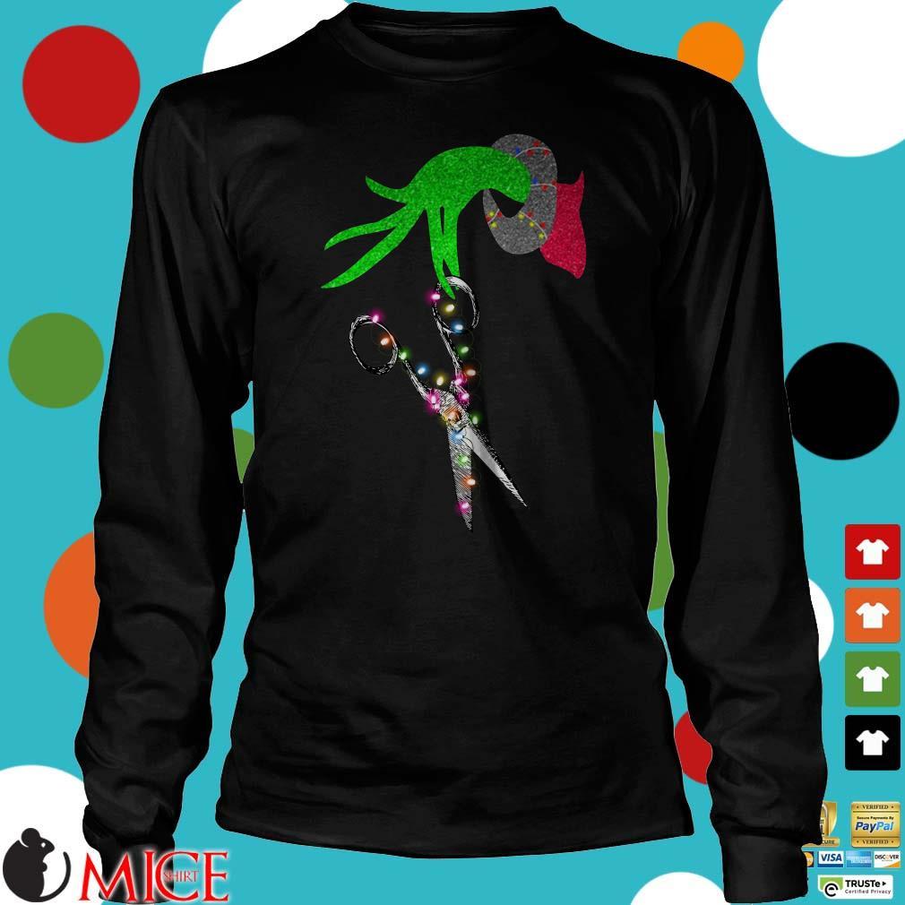Grinch Hand Holding Scissor Christmas Shirt
