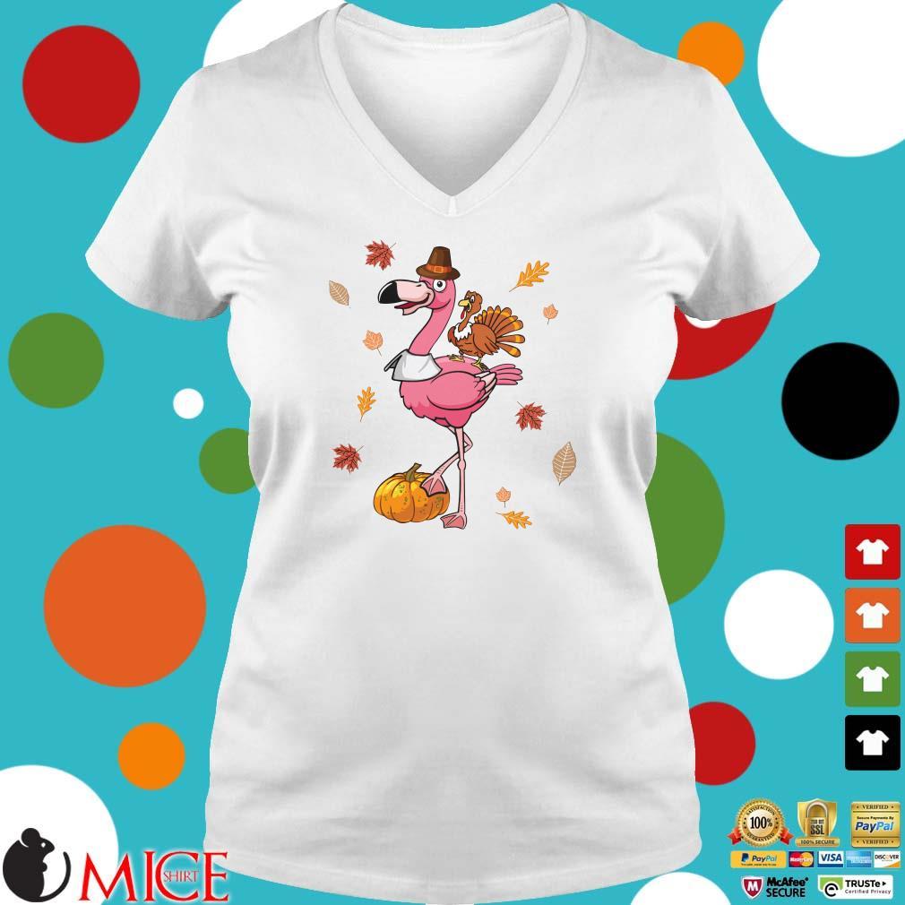 Halloween Flamingo Riding Turkey Shirt