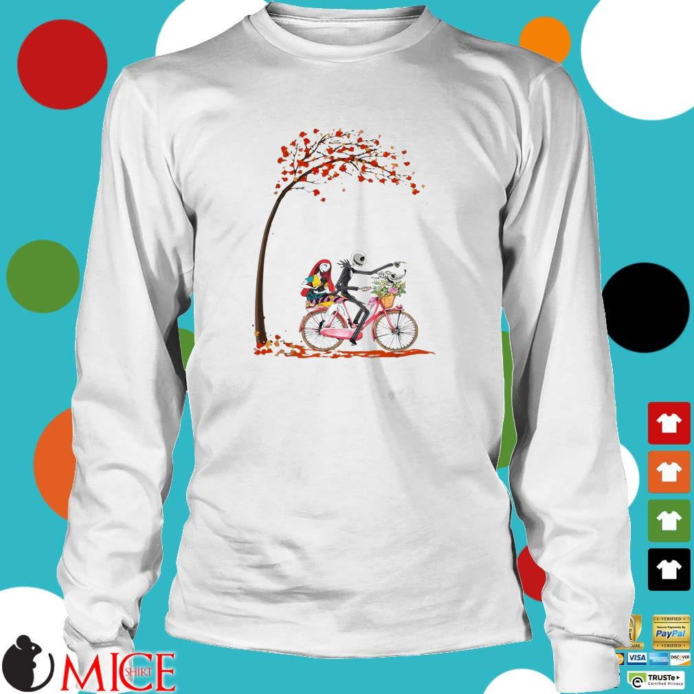 Jack Skellington riding bicycle Sally and Zero Autumn Tree shirt