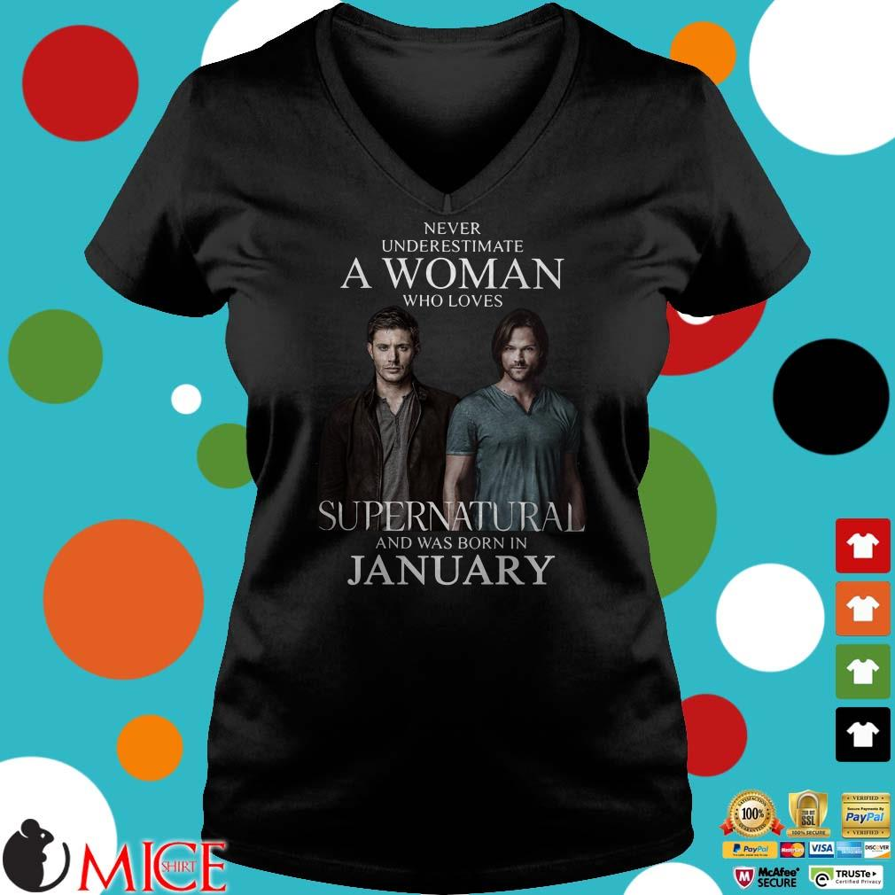 Never Underestimate A Woman Who Loves Supernatural And Was Born In January Shirt