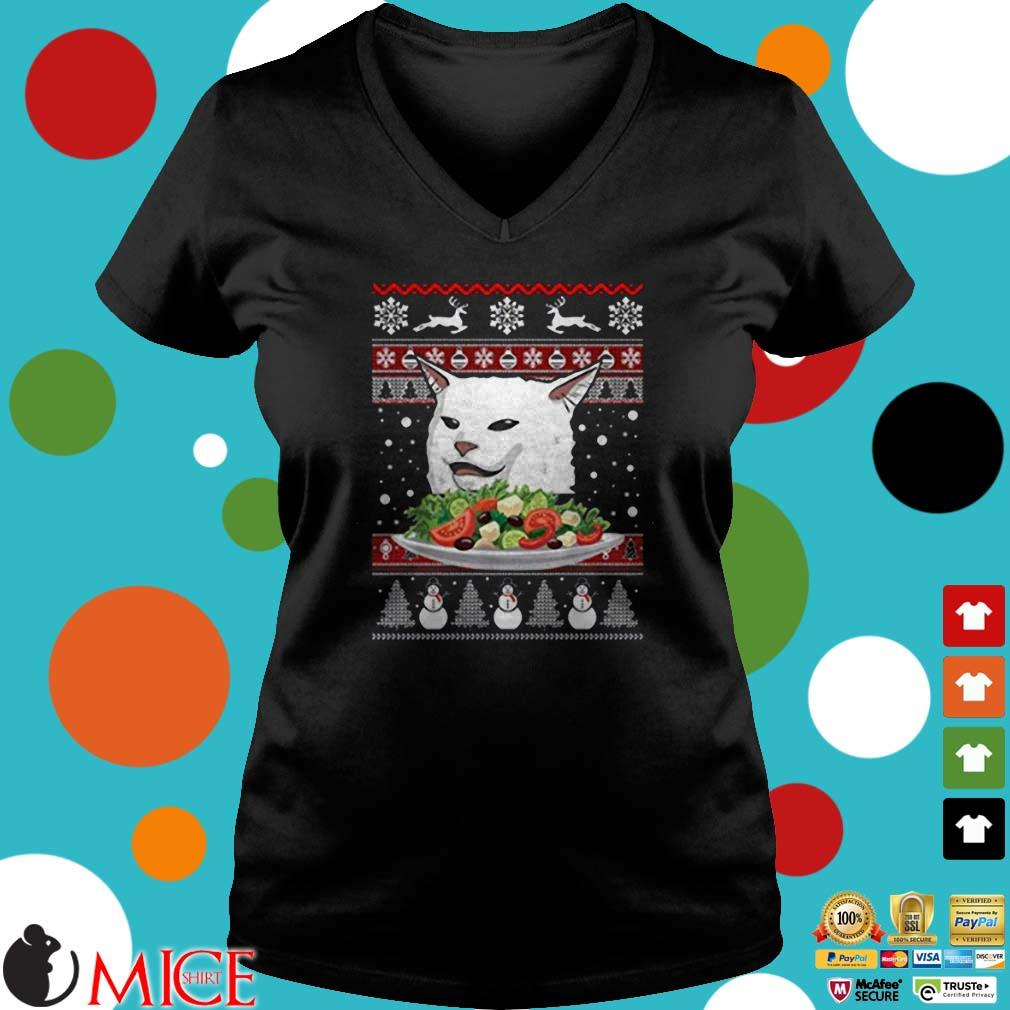 Angry Women Yelling at Confused Cat at Dinner Table Meme Ugly Christmas Sweater
